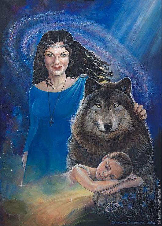 """Люди, ручной работы. Ярмарка Мастеров - ручная работа. Купить Картина в стиле фентези """"Волк защитник"""". Handmade. Картина в подарок"""