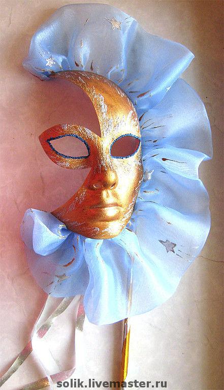 """Интерьерные  маски ручной работы. Ярмарка Мастеров - ручная работа. Купить Венецианская маска Вольто - Луна """"Полночь"""". Handmade. Маска"""