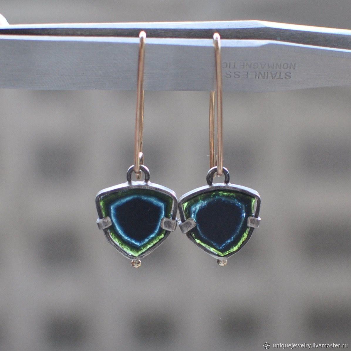 Tourmaline indigolite earrings, silver, Goldfield, gold, Earrings, Moscow,  Фото №1
