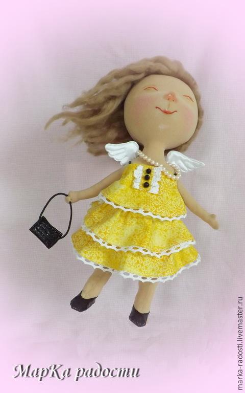 """Коллекционные куклы ручной работы. Ярмарка Мастеров - ручная работа. Купить Кукла текстильная """"С тобой я летаю"""". Handmade. Желтый"""
