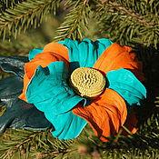 Брошь-булавка ручной работы. Ярмарка Мастеров - ручная работа Цветок из натульной кожи (брошь, заколка). Handmade.