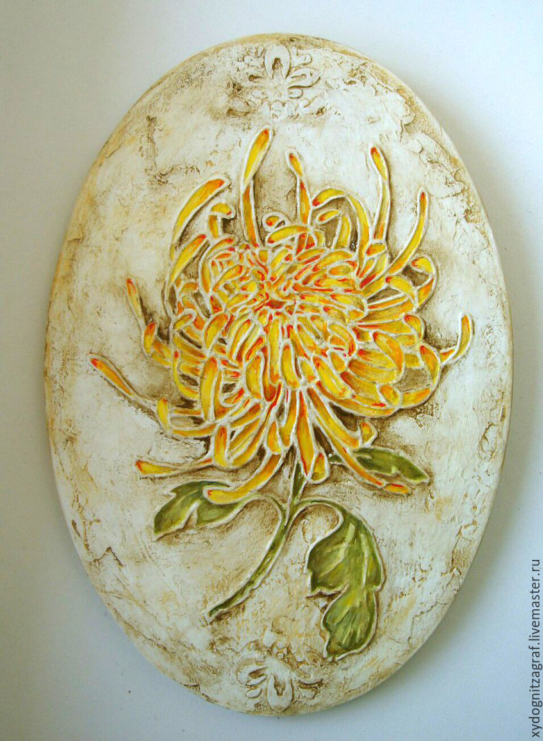 Panels `Chrysanthemum` hand-painted. size 20-23 cm.