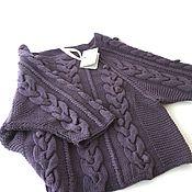 Одежда handmade. Livemaster - original item Sweater with braids oversized BlackBerry. Handmade.