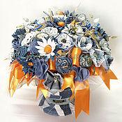 Цветы и флористика ручной работы. Ярмарка Мастеров - ручная работа Интерьерный джинсовый букет Апельсин. Handmade.