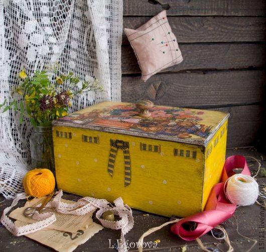"""Корзины, коробы ручной работы. Ярмарка Мастеров - ручная работа. Купить Короб  """"МИШУТКИ"""". Handmade. Желтый, рукоделие, подарок бабушке"""