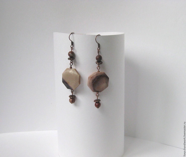 Long earrings with natural Jasper, Earrings, Tula,  Фото №1