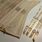 Одежда ручной работы. Ярмарка Мастеров - ручная работа Золотая дымка. Прозрачный корсет с подвязками для чулок. Handmade.