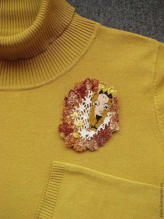Броши ручной работы. Ярмарка Мастеров - ручная работа. Купить Брошь текстильная Лев. Handmade. Лев, знак зодиака, animal