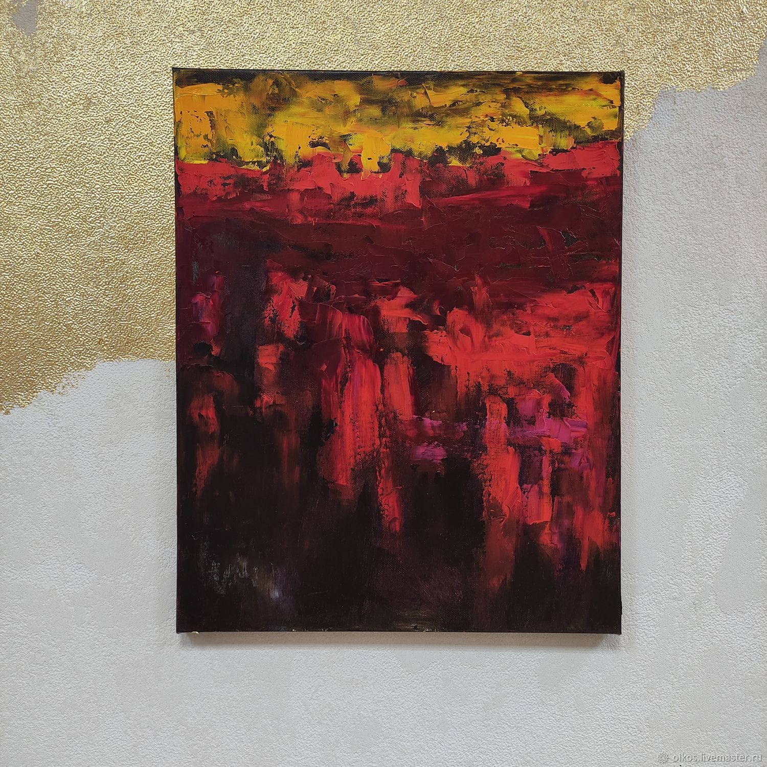 Abstract painting in bright red scarlet yellow for cabinet, Pictures, St. Petersburg,  Фото №1