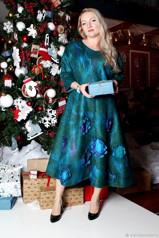 """Авторское валяное платье """"Рeacock feather"""", Платья, Новосибирск,  Фото №1"""