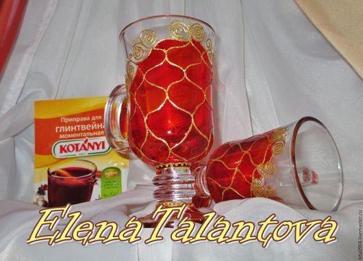 """Бокалы, стаканы ручной работы. Ярмарка Мастеров - ручная работа. Купить Бокалы под глинтвейн """"Christmas"""". Handmade. Ярко-красный"""