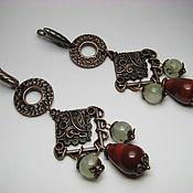Украшения handmade. Livemaster - original item Earrings copper with prehnite and red Jasper