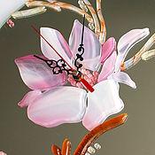 Для дома и интерьера ручной работы. Ярмарка Мастеров - ручная работа часы из стекла, фьюзинг  Цветочное время. Handmade.