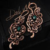 Украшения handmade. Livemaster - original item Earrings with a jade stone in a copper braid