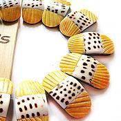 Материалы для творчества handmade. Livemaster - original item Beads Cone Scribbled/Noble scallop with 2 holes. Handmade.
