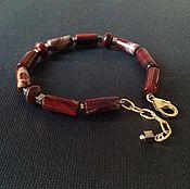 Украшения handmade. Livemaster - original item Men`s bracelet made of gold plated silver and red Jasper.. Handmade.