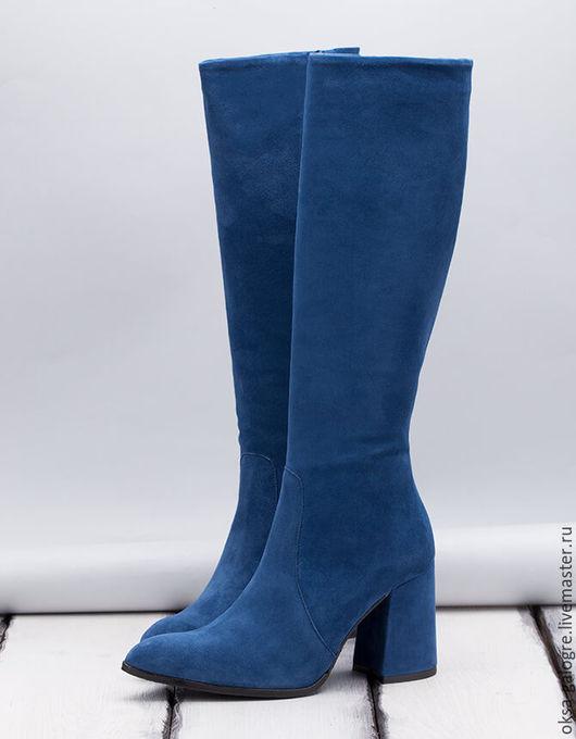 Обувь ручной работы. Ярмарка Мастеров - ручная работа. Купить Замшевые сапоги.. Handmade. Синий, сапоги женские, сапоги демисезонные