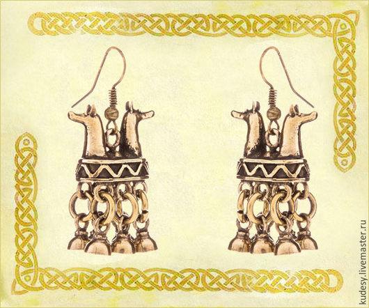 """Серьги ручной работы. Ярмарка Мастеров - ручная работа. Купить Серьги шумящие """"Хийси"""". Handmade. Золотой, серьги, оберег, подарок"""