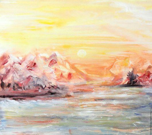 Пейзаж ручной работы. Ярмарка Мастеров - ручная работа. Купить Море, горы и закат. Абстрактный пейзаж. Смешанная техника.. Handmade.
