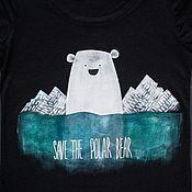 Одежда handmade. Livemaster - original item Save the polar bear, save the walrus t-shirt. Handmade.