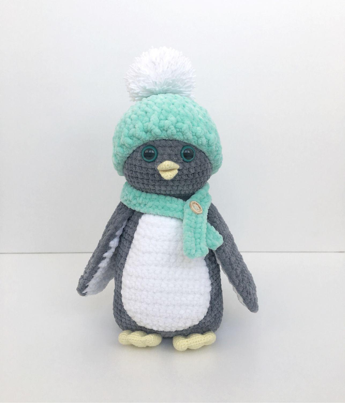 вязаный крючком пингвин из плюшевой пряжи игрушки ручной работы