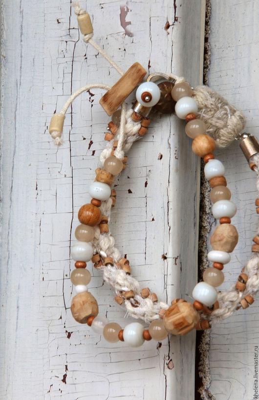 Браслеты ручной работы. Ярмарка Мастеров - ручная работа. Купить Сет браслетов «Роса». Handmade. Бежевый, молочный цвет, яблоня