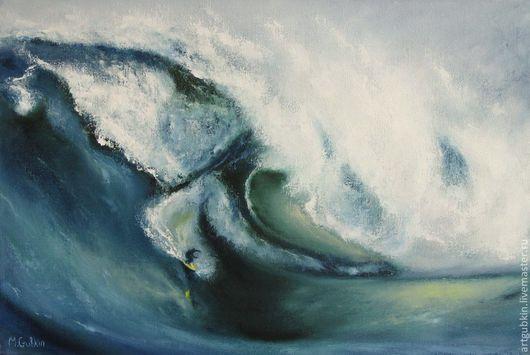 Пейзаж ручной работы. Ярмарка Мастеров - ручная работа. Купить Серфинг II. Handmade. Серфинг, брызги, картина море, холст