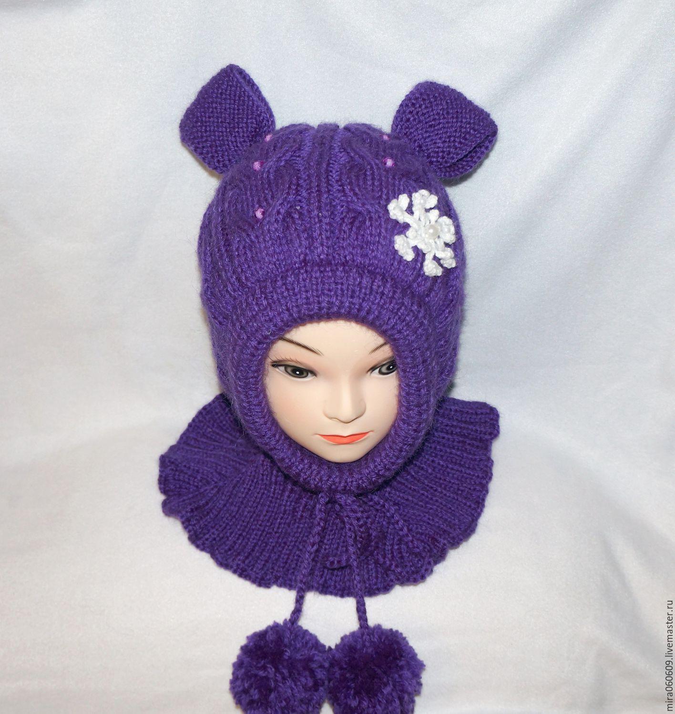 шапка шлем для девочки схема спицами