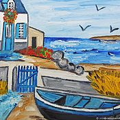 Винтаж handmade. Livemaster - original item Vintage paintings Bretagne and Danse bretonne oil on canvas France. Handmade.