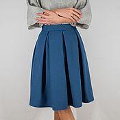 Юбки ручной работы. Ярмарка Мастеров - ручная работа Голубая шерстяная юбка. Handmade.