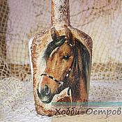 Посуда ручной работы. Ярмарка Мастеров - ручная работа Бутылка Боевой конь, стекло, декупаж. Handmade.