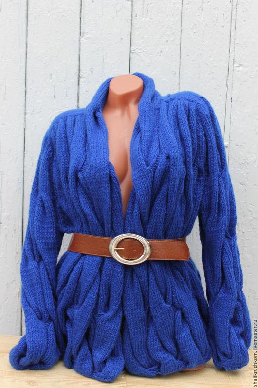 Кофты и свитера ручной работы. Ярмарка Мастеров - ручная работа. Купить Вязаный кардиган шарпей большой размер синий. Handmade. Кардиган