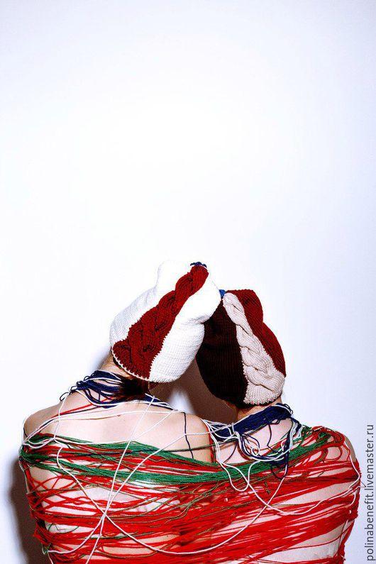 Шапки ручной работы. Ярмарка Мастеров - ручная работа. Купить Кашемировая шапка с цветными косами. Handmade. Шапка, Шапка с косами