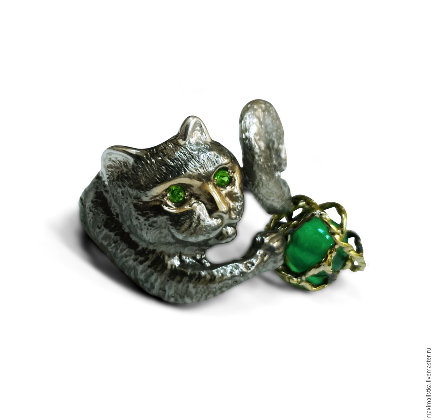ring 'green-kote' silver, gold, chrysoprase, ivory, Rings, Moscow,  Фото №1