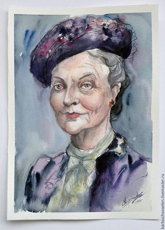 """Люди, ручной работы. Ярмарка Мастеров - ручная работа. Купить Картина """"Портрет Мегги Смит"""". Handmade. Комбинированный, кино, лицо"""