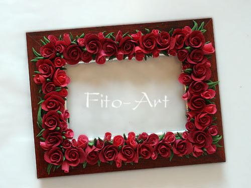 Фоторамки ручной работы. Ярмарка Мастеров - ручная работа. Купить Фоторамка с красными розами. Handmade. Фоторамка, цветы искусственные