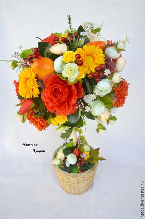 """Топиарии ручной работы. Ярмарка Мастеров - ручная работа. Купить Топиарий, дерево счастья """"Осень"""". Handmade. Ярко-красный"""