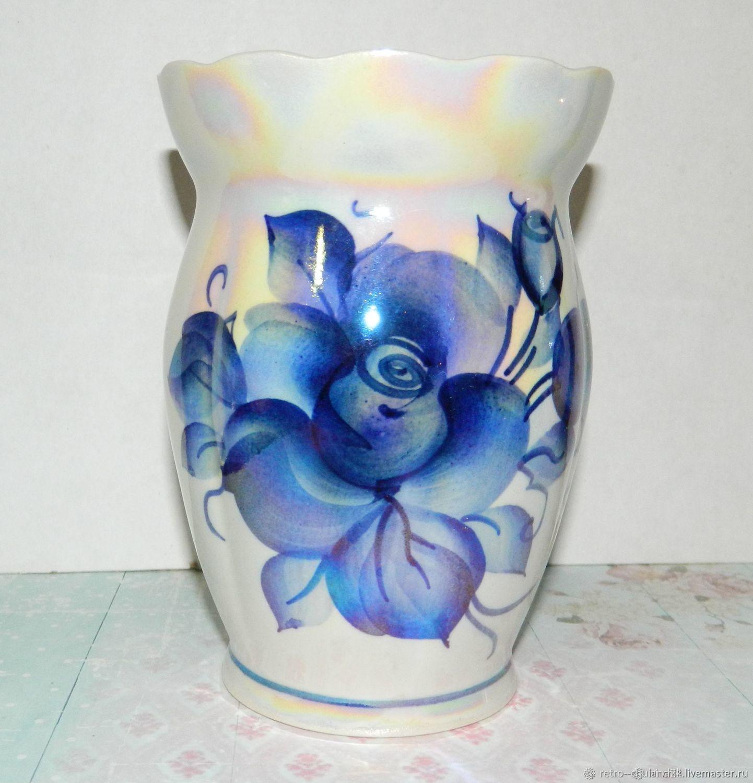 Vintage vase Porcelain Underglaze painting under Gzhel, Vintage interior, Istra,  Фото №1