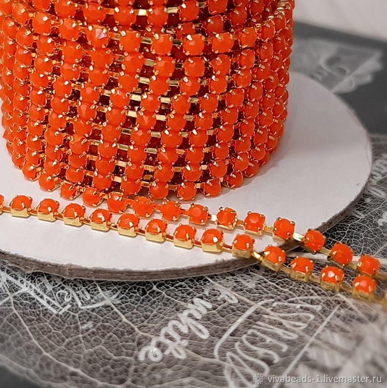50 cm Rhinestone chain 2mm neon orange (4235), Chains, Voronezh,  Фото №1