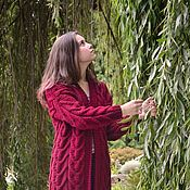 Одежда handmade. Livemaster - original item cardigans: Women`s knitted oversize cardigan in Bordeaux color. Handmade.