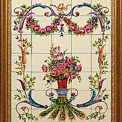 Картины и панно handmade. Livemaster - original item Painted tiles Apron for kitchen Peacock. Handmade.