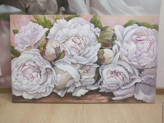 """Картины цветов ручной работы. Ярмарка Мастеров - ручная работа. Купить """" Пионовый зефир"""". Handmade. Белый, картина для интерьера"""
