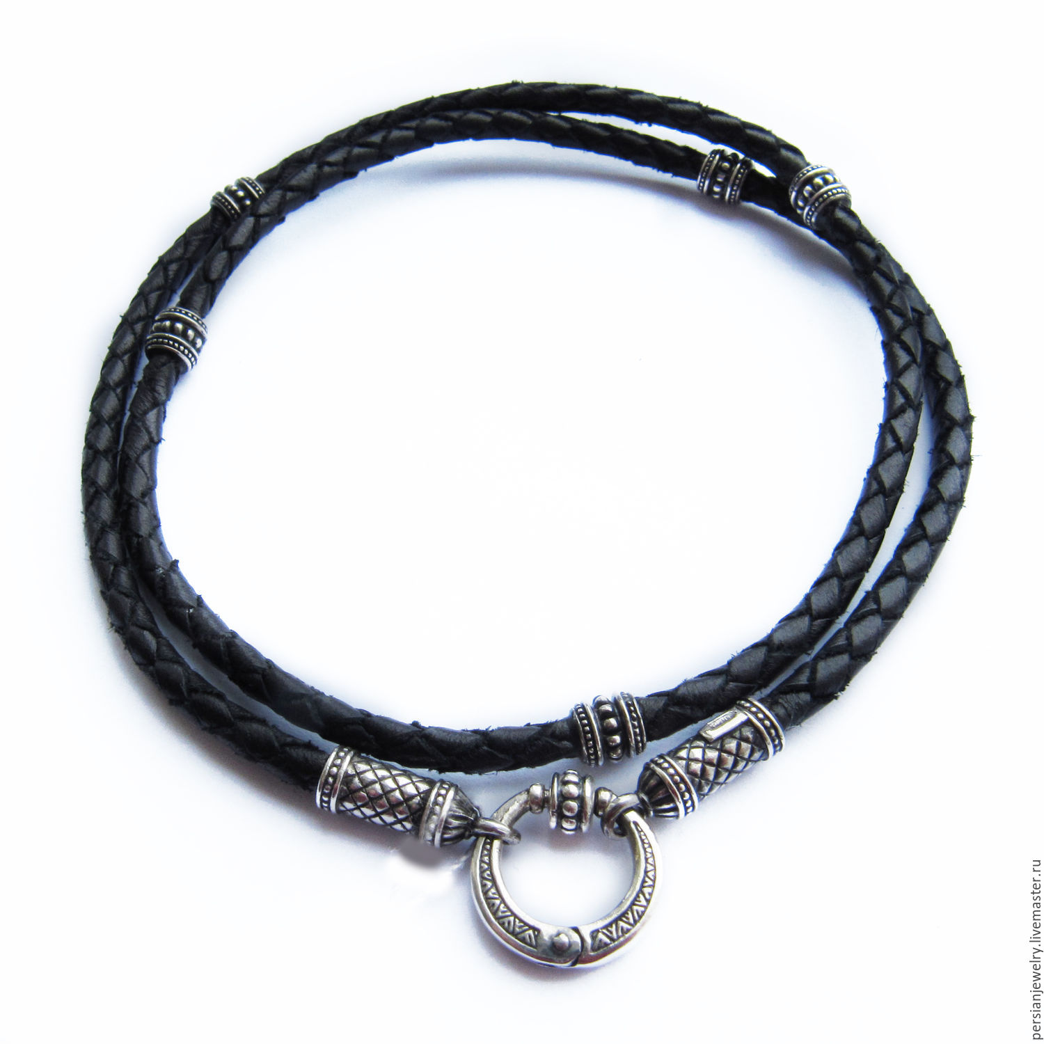 Chalker: Leather lace with silver beads, Chokers, Sevastopol,  Фото №1