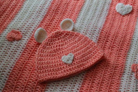 Текстиль, ковры ручной работы. Ярмарка Мастеров - ручная работа. Купить Детский набор- плед и шапочка. Handmade. Плед, подарок