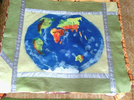 """Текстиль, ковры ручной работы. Ярмарка Мастеров - ручная работа. Купить Плед """"Карта мира"""". Handmade. Плед, шерсть"""