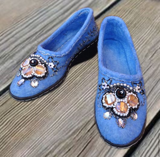 """Обувь ручной работы. Ярмарка Мастеров - ручная работа. Купить Лоферы вышитые """"Синие"""". Handmade. Лоферы, для прогулок, обувь для отдыха"""