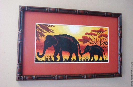 """Животные ручной работы. Ярмарка Мастеров - ручная работа. Купить Вышитая крестом картина """"Жаркая Африка"""". Handmade. Оранжевый, СИЛУЭТЫ"""