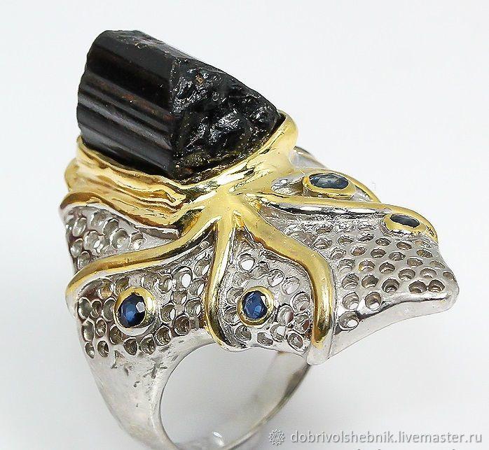 Ring 'octopus' with Cheryl and sapphires, Rings, Novaya Usman,  Фото №1