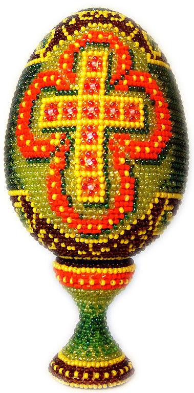 """Яйца ручной работы. Ярмарка Мастеров - ручная работа. Купить яйцо оплетённое бисерное пасхальное """"Крест"""". Handmade. Пасхальное яйцо"""