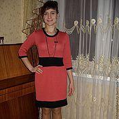 Одежда ручной работы. Ярмарка Мастеров - ручная работа Коралловое платье с черной отделкой. Handmade.